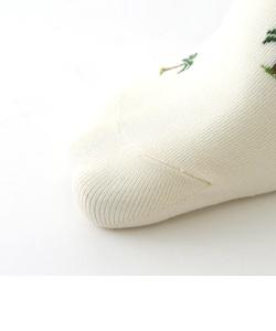 メンズ 綿100%撚り杢パームツリーショートソックス