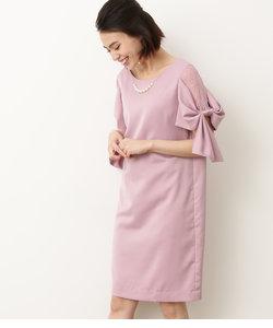 【WEDDINGS&PARTIES】ネックレス付きサイドレースリボン袖ドレス