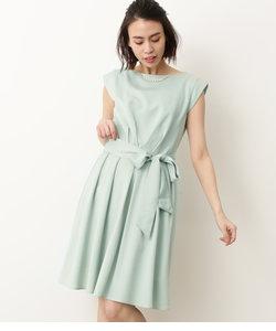 【WEDDINGS&PARTIES】ネックレス付きウエストリボンタックドレス