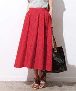 【防シワ】前釦カラミ織りスカート