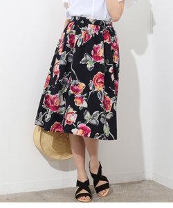 アートプリントギャザースカート