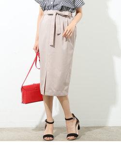 リボン付き前スリットタイトスカート