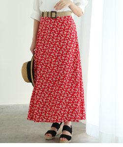 単色花柄プリントマーメイドスカート