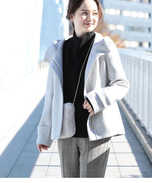 【蓄熱+静電気防止】フレンチウール混立ち襟フードショートコート