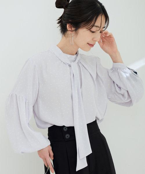 【鎌倉シャツ×ViS】【マルチWAY】ボウタイ付きボリューム袖ブラウス