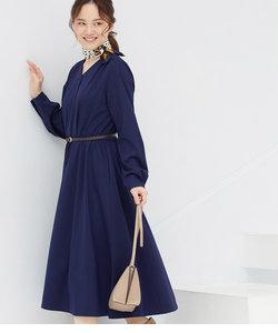 【WEB限定】合皮ベルト付フレアワンピース