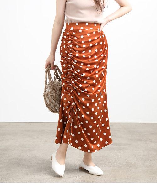 フロントドロストドットタイトスカート