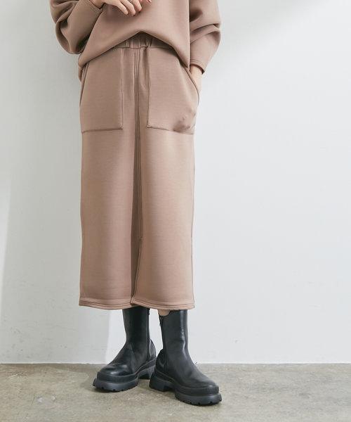 【スフレタッチ】ダンボールニットタイトスカート