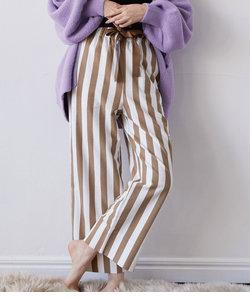 【ViSage】【セットアップ対応】モイスト加工ストライプパジャマパンツ