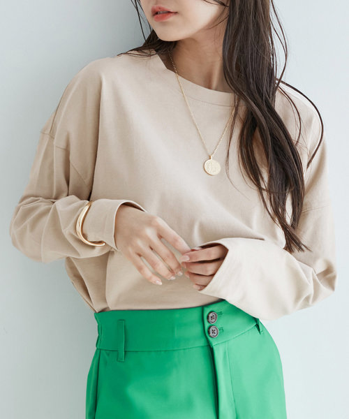 【vis-`a-vis】シルエットスッキリUSAコットンロングTシャツ