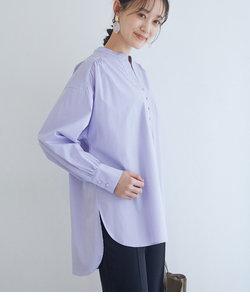 【WEB限定】コットンカフタンネックシャツ