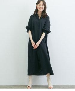 【WEB限定】リネンライクバンドカラー前開きシャツワンピース