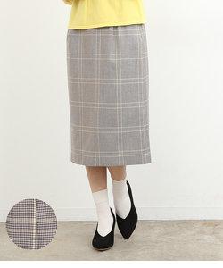 カラーチェックAラインスカート