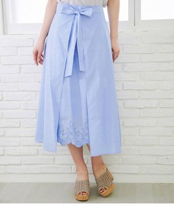【50TH SPECIAL COLLECTION 辻直子監修】無地/ストライプ裾刺繍スカート