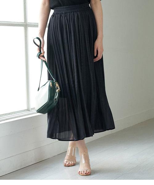【WEB限定カラー:ネイビー】シャイニープリーツスカート