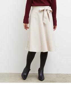 プレミアムフィールリボン付きフレアスカート