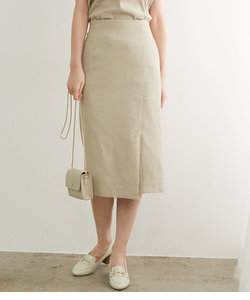 【セットアップ対応】麻調タックアイラインスカート