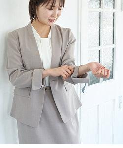 【WEB限定34-42サイズ】【セットアップ対応】麻調ノーラペルジャケット