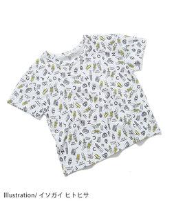 【イソガイ ヒトヒサ×ROPE' PICNIC KIDS】手書き風総柄Tシャツ