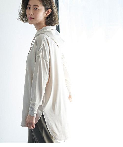 【essential wear】【吸水速乾・抗菌加工】チュニックフーディートップス