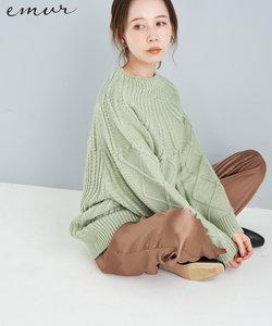 【emur】ケーブルニットプルオーバー