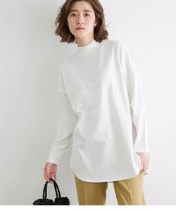 モックネックラウンドロングTシャツ