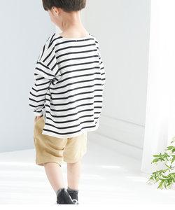 【KIDS】【リンクコーデ】ボーダーベーシックロングシャツ