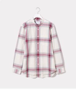 マオカラーコットンチェックシャツ
