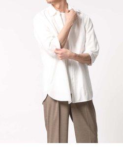 〈バンブー素材〉オーバーサイズ レギュラーカラー7分袖シャツ
