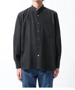 《21SS》リラックスドレープ レーヨンスエード とろみバンドカラーシャツ/UNISEX