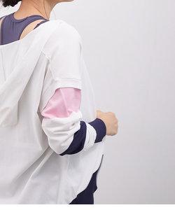 【ひんやりタッチ】【UV】配色切替ニットパーカ