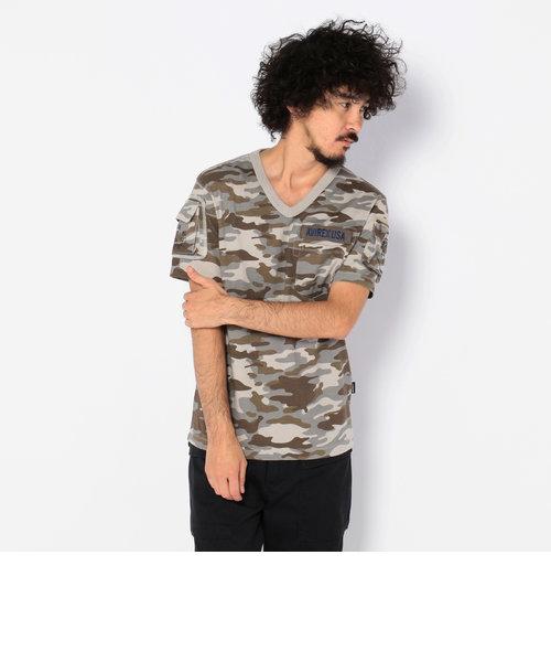 AVIREX/アヴィレックス/半袖 Vネック カモフラージュ ティーシャツ/V NECK CAMOUFLAGE T-SHIRT