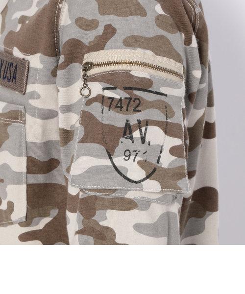 直営店限定/ 迷彩 ファティーグ 長袖Tシャツ/ CAMOUFLAGE FATIGUE L/S V-NECK T-SHIRT