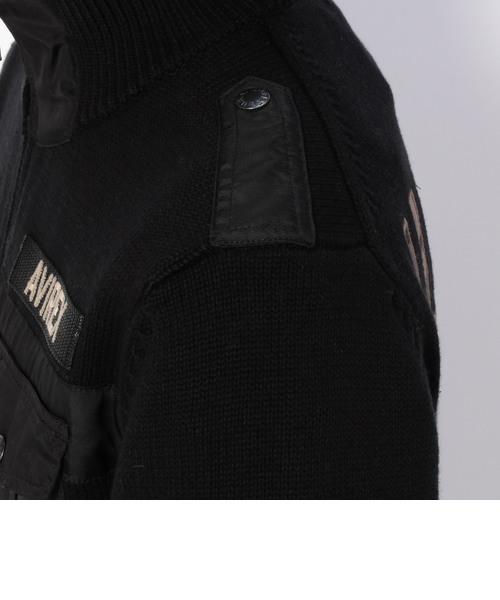 ロングスリーブ スタンドジップ ネイビー ニット/ L/S STAND ZIP NAVY KNITS