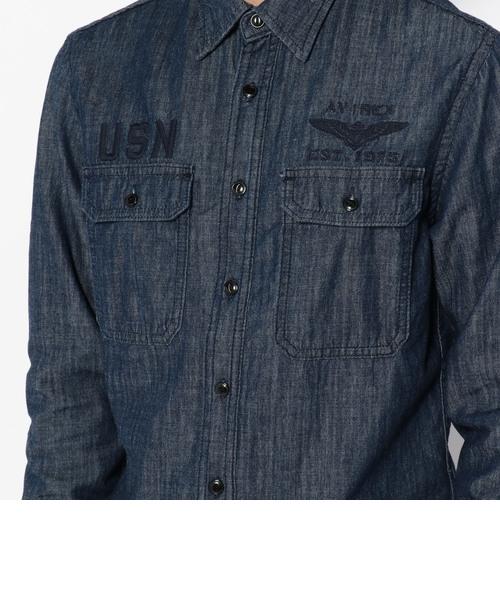 タイプ ブルー ロングスリーブ デニム ネイバル シャツ/ TYPE BLUE L/S DENIM NAVAL SHIRT