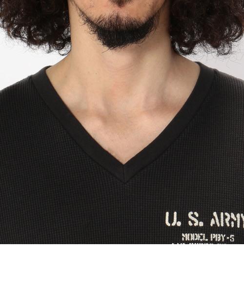 avirex/ アヴィレックス /半袖 US アーミー ステンシル ワッフルTシャツ/US-ARMY STENCIL WAFFLE T-SHIRT
