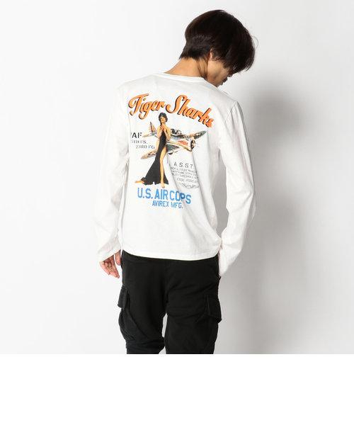 AVIREX/アヴィレックス/U.S.A.COTTON  NOSEART T-SHIRT/米綿 ノーズアート Tシャツ タイガーシャークス