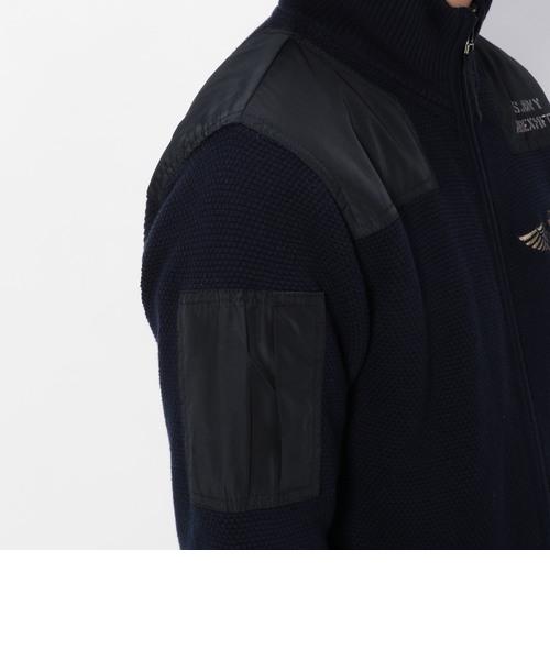 ロングスリーブ スタンド ジップ セーター/ L/S NAVY STAND ZIP SWEATER