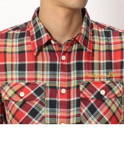 【直営店舗限定】AVIREX/アヴィレックス/半袖 綿麻 チェックシャツ/ C/L CHECK SHIRT