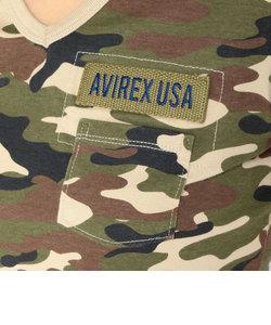 AVIREX/アヴィレックス/半袖Vネック カモフラージュ ファティーグ ティ-シャツ/V-NECK CAMOUFLAGE FATIGUE T-SHIRT