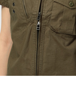 avirex/ アヴィレックス/ ストレッチ シャツ スタンドジップ シャツ/ S/S STRETCH STAND ZIP SHIRT