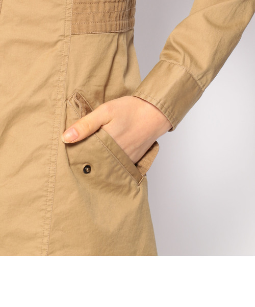 サテンストレッチ コンビスタンド シャツ ワンピース/SATIN STRETCH COMBI STAND SHIRT ONE PIECE