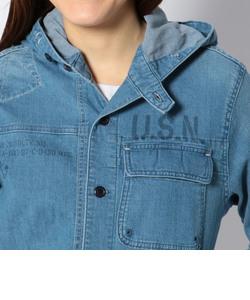ネイバル フーデッド シャツ/TYPE BLUE  NAVAL HOODED SHIRT