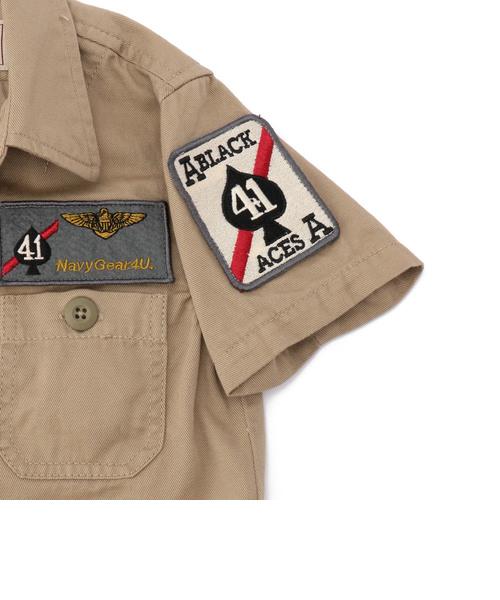 avirex/アヴィレックス/キッズ ミリタリーシャツ ブラックエース/KIDS MILITARY SHIRT BLACK ACE