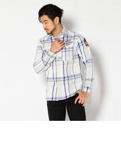 AVIREX/アヴィレックス/ L/S EMBROIDERED CHECK SHIRT/ 長袖 刺繍 チェックシャツ