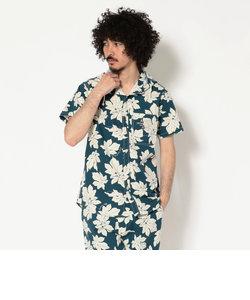 【直営店限定】AVIREX/アヴィレックス/ 半袖  リーフパターン フードシャツ/ S/S LEAF PATTERN HOODED SHIRT