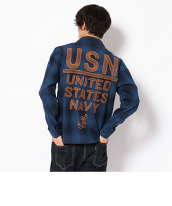 TYPE BLUE/USN ユーティリティ刺繍シャツ/EMBROIDERED UTILITY SHIRT