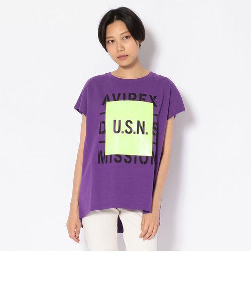 検印注意 フレンチスリーブ プリントTシャツ/FRENCH SLEEVE T-SHIRT