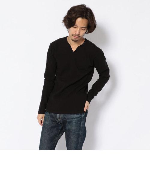 【DAILY】 ミニワッフル キーネック Tシャツ/MINI WAFFLE KEY NECK T-SHIRT<br>