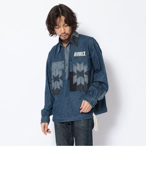 【TYPE BLUE】ネイティブ パネル プルオーバーシャツ/NATIVE PANEL PO SHIRT/タイプブルー